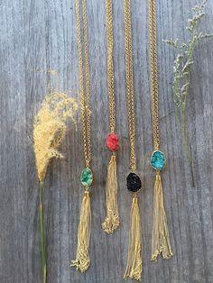 Druzy Tassel necklace - Pink Pineapple Shop