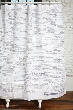 SAT words shower curtain. Improve your vocabulary while bathing. Brilliant! put on inside of shower curtain so can see words while showering and dont have to change my theme in bathrrom