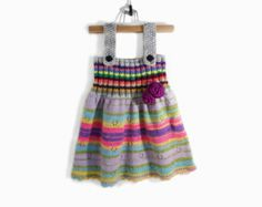 Knitted Girl Tunic Dress - Gray Multicolor, 4 - 5 years