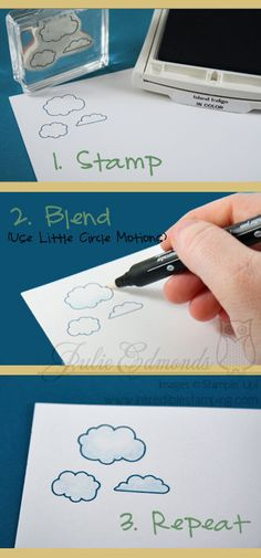How to Shade a Stamped Cloud, Stampin' Up! SU by Julie Edmonds, Inkredible Stamping