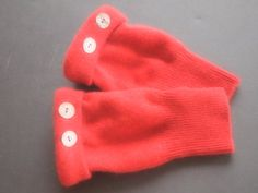 Fingerless Gloves Red Cashmere by ArtisanFeltStudio on Etsy