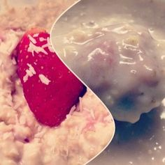 Strawberry Coconut and Cream Overnight Oatmeal  Ingredients:  1/3 cup rolled oats  1/4 cup 0% greek yogurt  1/4 cup unsweetened almond milk  4 strawberries, chopped  1 tbsp shredded coconut  1/4 tsp stevia  200 calories