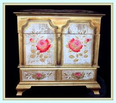 Vintage shabby chic large jewelry box chest