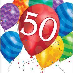 Balloon Blast 50th Birthday Lunch Napkins/Case of 192
