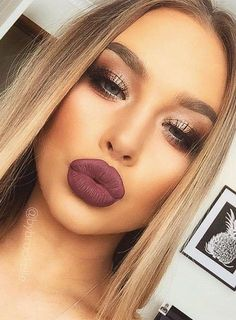 Eggplant Lips + Contouring + Highlighted Inner V