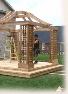 There are lots of pergola designs for you to choose from. You can choose the design based on various factors. First of all you have to decide where you are going to have your pergola and how much shade you want. Diy Pergola, Wooden Pergola, Outdoor Pergola, Backyard Patio, Pergola Ideas, Backyard Playhouse, Cheap Pergola, Wood Shed Plans, Shed Kits