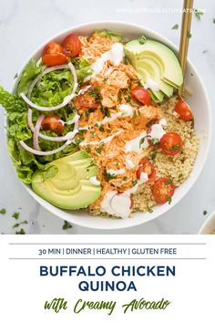 Searching for the perfect power bowl to keep you satiated? This Buffalo Chicken Quinoa Bowl is topped with healthy avocado, tomato, shredded buffalo chicken, ranch and served on a bed of protein rich quinoa. The Buffalo Chicken recipe itself is easy, it's just a little bit of cream cheese, your favorite buffalo sauce, and chicken! That's it! Then you can add whatever you want to the bowl! It'll will be a new staple in our house. That's for sure! #chickenrecipes #quinoarecipes #buffalochicken