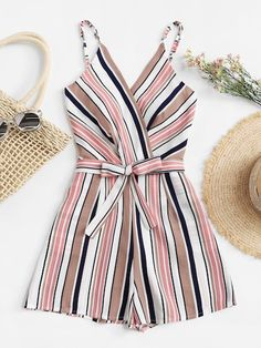 To find out about the Plus Multi-Stripe Tie Waist Cami Jumpsuit at SHEIN, part of our latest Plus Size Jumpsuits ready to shop online today! Teen Fashion Outfits, Trendy Outfits, Summer Outfits, Cute Outfits, Womens Fashion, Danish Fashion, Vetement Fashion, Plus Size Jumpsuit, Jumpsuit Dress