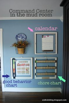 """Great ideas for Mom's Command Center.  The good behavior chart (""""Doing Our Best"""") seems like a great, tangible way to help kids monitor their behavior"""
