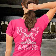 Girls & Guns. All American Woman. Women's T-Shirt.
