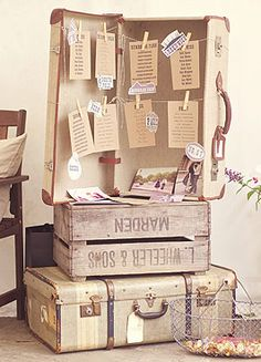 Love this seating plan idea - Rustic vintage wedding idea: use old travel trunks and wooden crates as table for seating charts. Vintage Suitcase Decor, Vintage Suitcases, Vintage Crates, Vintage Pins, Farm Wedding, Diy Wedding, Rustic Wedding, Wedding Ideas, Wedding Details