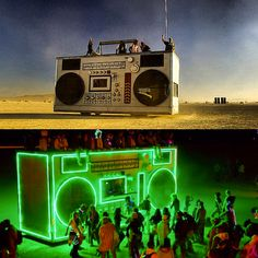 Burning Man boombox art car by day and night Stage Design, Event Design, Burning Man Art, Burning Man Night, Black Rock Desert, Fete Halloween, Stage Set, Installation Art, Art Installations