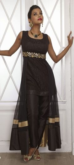 Skirt with a #salwarKameez? Get this look.  #Déjàvu #Partywear #Slit #IndianWedding #IndianFashion #Sheer