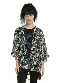 <p>Wrap yourself in Totoro, the cutest forest spirit, with this sheer kimono from Studio Ghibli. The design features a floral Totoro print and black fringe trim.</p>  <ul> <li>100% polyester</li> <li>Wash cold; dry low</li> <li>Imported</li> <li>Listed in junior sizes</li> </ul>