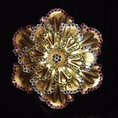 Curtains and Drapes Los Angeles: Tripple Rosette in Silver Gold with multi-color cr...
