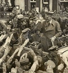 Adolf Hitler greeted by the German population in Sudetenland during a visit to W… World History, World War Ii, Nazi Propaganda, Germany Ww2, The Third Reich, Rare Photos, Ww2 Photos, Military History, Wwii