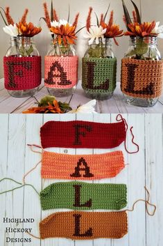 Crochet the Fall Jars with this free and easy pattern. You'll single crochet a panel, cross stitch the letters on and then wrap around a mason jar. Crochet Fall Decor, Holiday Crochet, Halloween Crochet, Autumn Crochet, Thanksgiving Crochet, Crochet Geek, Crochet Home, Free Crochet, Beginner Crochet