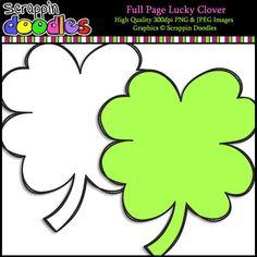 Full Page Lucky Clover Digital Paper Freebie, Cute Clipart, Classroom Decor, St Patricks Day, Original Artwork, Doodles, Clip Art, Png Format, Creative