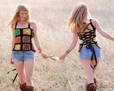 Corset Back Crochet Tank Top Shirt Lined by RubyChicOriginals, $97.00
