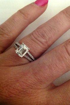 Real Ritani Engagements - Emerald Cut Diamond \'V\' Split Shank French-Set  Engagement