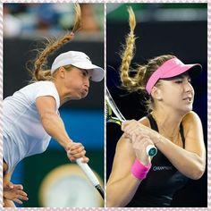 The flying plaits of women's tennis #belindabencic #yuliaputintseva #ausopen2016 #plaitbattle #ponytail #wta #flyinghair
