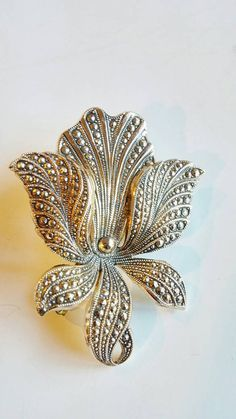 Vintage Marcasite Floral Brooch Made in West by QVintage on Etsy