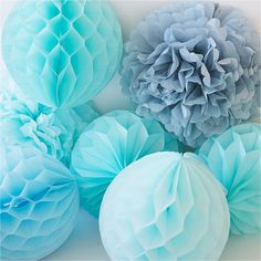 Tissue paper Pom poms and honeycomb party set mixed by DECOPOMPOMS
