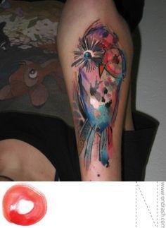 Watercolor owl tattoo by Ondrash by RiriRose - phenomenal!