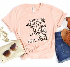 Excited to share this item from my #etsy shop: Hamilton shirts - Hamilton squad goals - Tshirt Lin Manuel Tshirt Hamilton Shirt Political Tshirt Broadway - hamilton shirt Hamilton Shirt, Lin Manuel, Squad Goals, Size Chart, Broadway, Short Sleeves, Etsy Shop, T Shirts For Women, Promotion