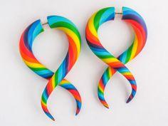 Rainbow Fake Gauge Earrings, Ear Gauges, Tentacle Plugs, Faux Gauges, Fake Plugs, Tentacle Gauges by JuneTiger on Etsy