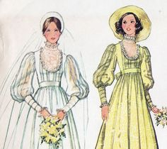 1970s Victorian Country Garden Scoop Neck Wedding Gown Sewing Pattern by TheOldLeaf, $9.95. #WeddingGown