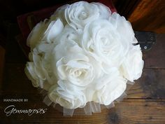 Bridal Fabric Bouquet  Ivory Handmade Roses  Made to by gemmaroses, $150.00