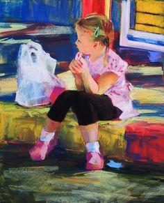 Alice Alone by Yael Maimon Pastel on Sennelier La Carte ~ 23 x 18