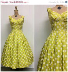 50s polka dot dress in lime