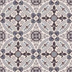 Portugese tegel CIRCLEZ 07: Deze gedetailleerde cementtegels van 20x20 cm en een dikte van 16 mm heeft mooie neutrale grijsblauwe kleuren.