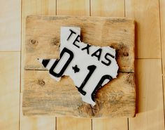 Vintage Texas State License Plate Art, Mounted on Barn Board, Upcycled License Plate Art