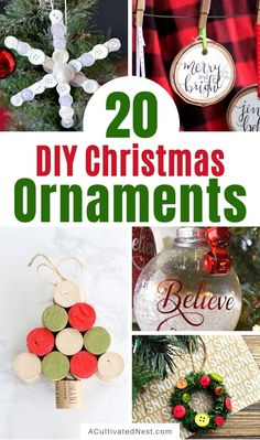 20 Beautiful DIY Christmas Ornaments- Time to get busy making these 20 beautiful DIY Christmas ornaments! They are stylish, festive, and will look stunning on your tree! | #Christmas #crafts #diyOrnaments #ChristmasOrnaments #ACultivatedNest Beach Christmas Ornaments, Cork Christmas Trees, Christmas Snow Globes, Christmas Crafts, Diy Ideas, Decor Ideas, Easy Crafts For Kids, How To Make Ornaments, Nest