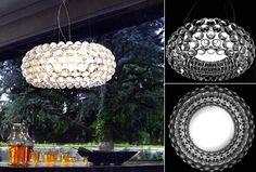 Rippvalgusti Caboche, Effektne rippvalgusti läbipaistvate või kuldkollaste kuulidega.  Kodu rippvalgustid, Koduvalgustid, Disainvalgustid, Disain rippvalgustid.  Foscarini-Diesel