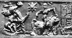 Gilgamesh in left and Enkidu in right, on Cylinder Seal - from Sumerian city of Uruk