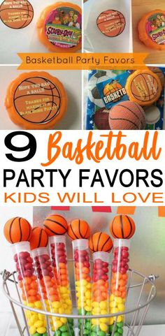 COOL Basketball party favors! Amazing party favor ideas for a Basketball theme party (birthday, end or season parties, sports party, classroom party). DIY ideas, party favor bags, candy, treat / goodie bags and much more. Check out the best Basketball party favors.
