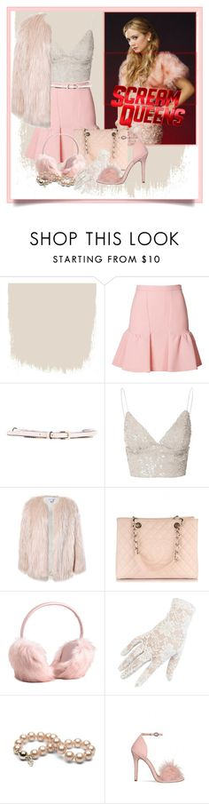 """""""Scream queens Chanel #3"""" by athena637 ❤ liked on Polyvore featuring Moschino Cheap & Chic, Valentino, Glamorous, Sans Souci, Chanel, Black and scream"""