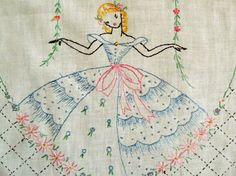 Southern Belle Crinoline Lady Embroidered Table por LovelyOldLinens