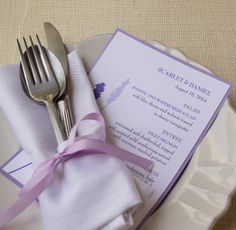 Lavender Flowers Menu Cards from Wine Country Occasions
