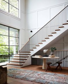 The Top Staircase Railing Inspiration Photos We're Using to Design Ours. (Chris Loves Julia) The Top Staircase Railing Inspiration Photos We're Using to Design Ours. Staircase Railings, Stairways, Staircase Ideas, Modern Staircase, Grand Staircase, Spiral Staircases, Staircase Interior Design, Concrete Staircase, House Staircase