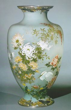 One of a pair of monumental cloisonne vases. Moriage and musen enamels worked in silver wire. Made by Kawade Shibataro for the Ando Workshop. Height 92.5cm.
