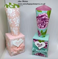 Ann's Happy Stampers: #2 Wedding Week Gorgeous Cone Table Favors with st...