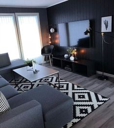 160 cozy small living room decor ideas for your apartment page 22 Classy Living Room, Living Room Decor Cozy, Rugs In Living Room, Interior Design Living Room, Home And Living, Living Room Designs, Small Living, Masculine Living Rooms, Small Apartment Living