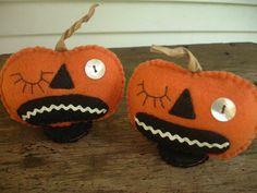 MadetoOrder Winking Felt Pumpkin Pair All by MyDisgustedCats, $16.00