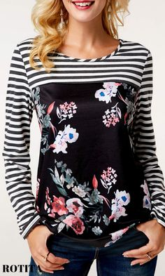 Flower Print Long Sleeve Black T Shirt .Fall wardrobe basics for ladies,check out our website,you will get fall suprise. Stylish Tops For Girls, Trendy Tops For Women, Look Fashion, Trendy Fashion, Fashion Fall, Affordable Fashion, Curvy Fashion, Fashion Trends, Fall Wardrobe Basics