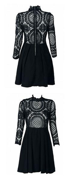 Black High Neck Crochet Lace Panel Skater Dress 2 colors